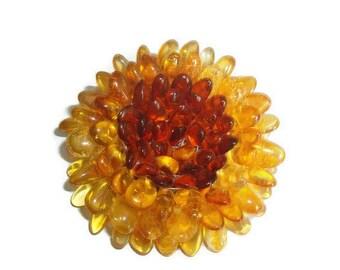 Amber flower brooch gift for girl woman Flower amber jewelry brooch gift mom Baltic amber flower pendant handmade Gemstone pin gift wife