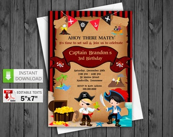 Printable invitation etsy printable invitation pirate boy party in pdf with editable texts cute pirate boy birthday invitation solutioingenieria Choice Image