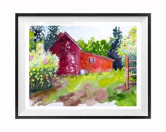 Red Barn Landscape watercolor print Old barn red wall art Farmland watercolor painting Landscape painting Christmas Time Sale