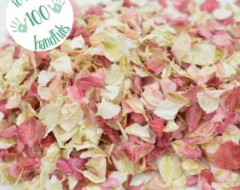 10 Litres approx 100 guests Natural Wedding Confetti Eco-Friendly Biodegradable Dried Delphinium Petals Raspberry / Vanilla, blush pink
