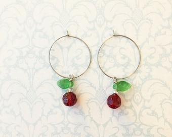 Cherry Hoop Earrings