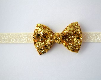 Gold Glitter TINY Bow Sparkly Headband Blessing Bow Photo Prop for Newborn Baby Little Girl Child Adult Spring Summer Headwrap
