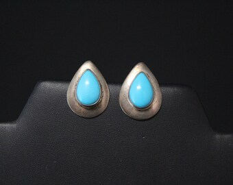 Sterling Silver Pear Shaped Turquoise Stud Earrings, Teardrop Turquoise Earrings, Simple Turquoise Earrings, Turquoise Jewelry