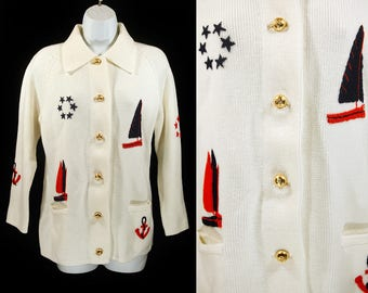 Vintage 70's LEROY KNITWEAR White Nautical Themes Sweater Jacket S