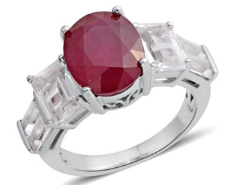 Ruby and White Topaz Ring - Size 7