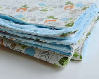 Minky Swaddle Blanket, Modern Baby Blanket, Safari Animals, Baby Boy Receiving Blanket, Baby Shower Gift - Ready to Ship!