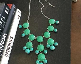 Bubble Necklace - Aqua Turquoise Bubble Necklace -  Blue statement necklace - blue choker - bib necklace - ocean