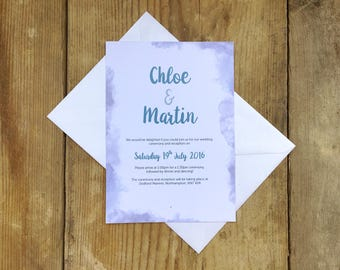 Soft watercolour wedding invitation | Wedding invitations | Wedding invites | Watercolour wedding invitations | Up in the clouds |