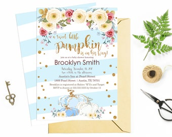 Blue and Gold Pumpkin Baby Shower Invitation, Fall Baby Shower Invite, Autumn Boy Baby Shower Printable Customizable Digital File