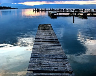 The Old dock on Flathead Lake Montana Photographic Art Print, Wall Art for Home decor, 12 Sizes Available from Prints to Mounted Canvas