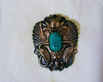 Egyptian revival style scarab brooch