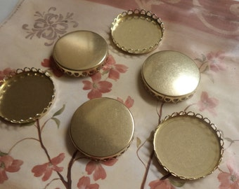 35mm round closed back lace edge cup settings DTL lacquered 6 pc lot
