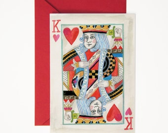 King of Hearts Greeting Card - Illustrated Just Because, Love You, Valentine's Day, Anniversary Card with Envelope Liner