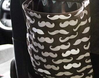 Mustache Car Trash Bag Reusable Auto Garbage or Storage