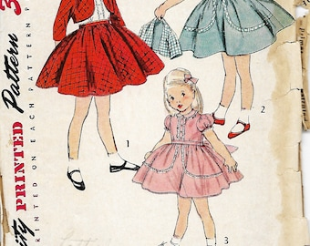 1950's Simplicity 3991 Girls One-Piece Dress And Jacket Sewing Pattern, Size 6