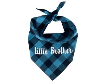 Dog Bandana Birth Baby Announcement, New Little Brother Dog Bandana, Little Brother Announcement, Buffalo Plaid, Personalized, New Puppy