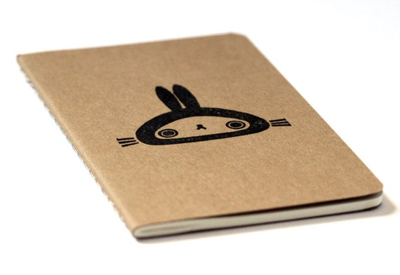Cute Moleskine notebook Bunny - Handstamped with cute character illustration - A6 / small