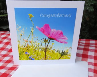 Congratulations!  A card featuring an original photograph.  Blank inside for your own message.