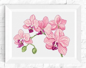 Orchid cross stitch pattern Watercolor Flower cross stitch Floral cross stitch PDF patterns Modern Home decor Embroidery Chart Hoop Art