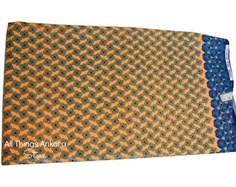 Yellow Blue Glitter Shining Sand Wax Prints African Ankara Fabric Per Yard