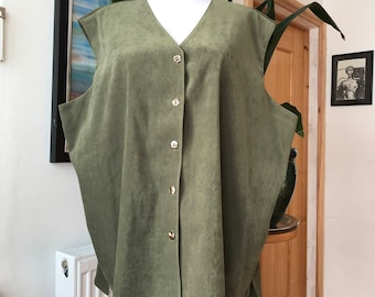 Green soft touch waistcoat