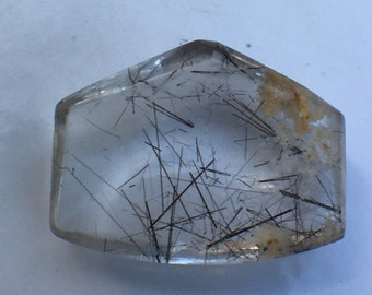 Clear Rutilated quartz freeform cabochon with manganese needle inclusions