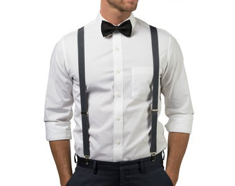 Charcoal Gray Suspenders & Black Bow Tie for Groom, Groomsmen, Ring Bearer Outfit