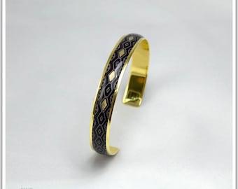 Panama black Carla 24K gold plated Bangle Bracelet