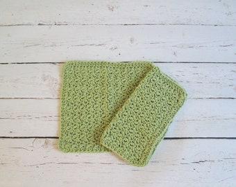 Set of 2 Crochet Dishcloths - Knit Dishcloth Set - Light Green Dishcloths - Handmade Cotton Washcloths