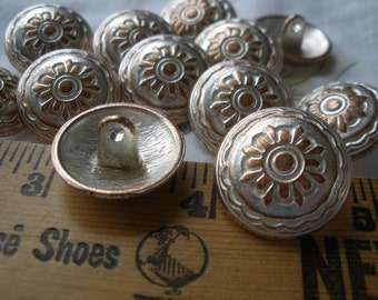 """Flower Sun Starburst Buttons Hammered Copper Color metal dome shank buttons 20MM 32L antique silver white wash finish 13/16"""" choose quantity"""