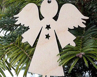 Wood Angel Ornament Wooden Christmas Ornaments Tree Ornament Angel Decor Hanging Angel Ornament Gift For Her Him