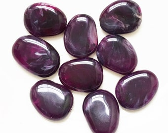 salvaged amythest purple marbled flat disk freeform acrylic pebble inspired beads--lot of 9