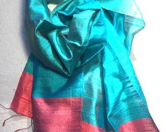 Pure silk scarf aqua silk scarf  turquoise silk scarf teal blue silk scarf and pink silk scarf handwoven silk scarf silk head scarf