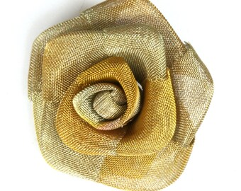"""2 pcs Steampunk Roses 1 1/2"""" (37 mm) Altered Art Craft Supply Oxidized Brass Wire Mesh Rose Wire Flower for Jewelry Art R1079-37"""