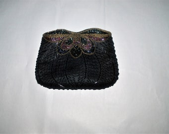 Magid Beaded Evening Bag Stylized Butterfly Motif
