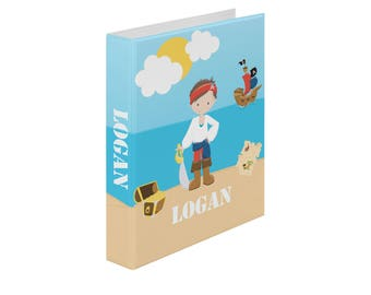 Pirate Personalized Binder - Pirate Boy Sea Island, Customized Pocket Binder 3 Ring Binder 2 Inch Spine Back to School