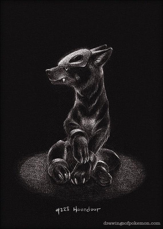 Houndour 5 x 7 imprimer pokemon sombre feu dessin - Dessin sombre ...