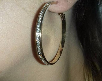 Rhinestone Gold-plated Big Circle Hoop Earrings | Gold-plated Rhinestone Earrings | Black Gun-plated Hoop Earrings