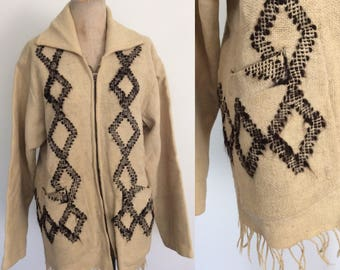 1950's Cream Wool Mexican Jacket Size Medium Large by Maeberry Vintage