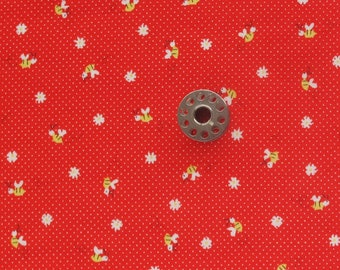 FAT EIGHTH Minny Muu Bees on Red Pin Dot | Japanese cotton fabric for patchwork, stash building, or small sewing projects.