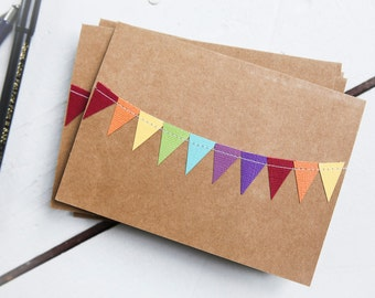 Bulk Thank You Cards, Wedding Card Pack, Rainbow Stationery, Birthday Card Pack, Colorful Stationary, Garland Notecards, Blank Notes,