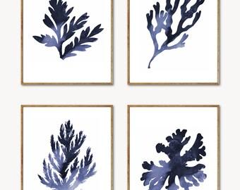 Blue Coral Wall Art - Coral Print Set of 4, Beach Decor, Seaweed Print, Coral Art, Nautical Decor, Ocean Decor, Watercolor Coral Painting