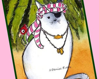 Siamese Kitty Pirate with Parrot and Bling Blue Point Siamese Cat Lover Siamese Cat Gift Cat ACEO Cat Print Cat Art Siamese Art Siamese Gift