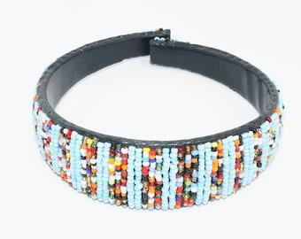 Beaded Headband - Baby Blue & Multicolor