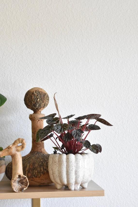 mid century white speckled ceramic flower pot
