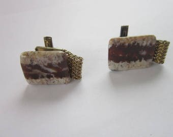 Retro Polished Stone & Mesh Men's Cuff Links