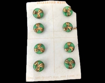Vintage Green Moonglow glass Buttons with Hand Painted Gold Design on Original Button Card Old New Stock Eight Glass Buttons