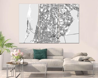 Clearwater Florida, City Map, Large Canvas Print, Wall Art, Multi panel