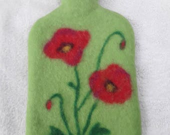 Felted Hot Water Bottle Wtih Blue Cover Red Flowers Wool