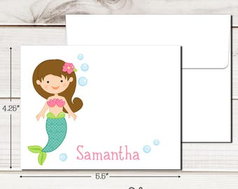 Personalized Under the Sea Note Cards - Set of 12 - Blank Inside with Envelopes